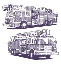 Firetruck drawings vector