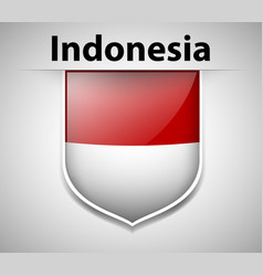 Flag of indonesia on badge vector