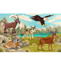 Funny animals in a mountain landscape vector image vector image