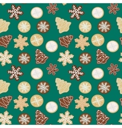 Gingerbread cookies seamless pattern vector image vector image