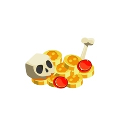 Gold and scull toy icon vector