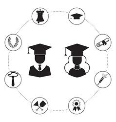 Graduation Icon Set Infographic vector image