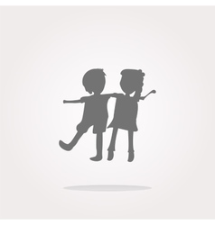 icon button with baby boy and girl inside vector image vector image