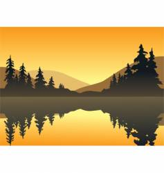 Lake sunset vector