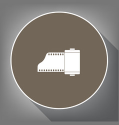 Old photo camera casset sign white icon vector