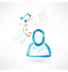 Person with music grunge icon vector image