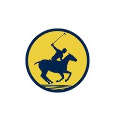 Polo player riding horse circle retro vector