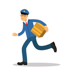 Postman in blue uniform running delivering parcel vector