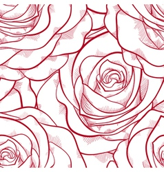Red and white seamless pattern in roses vector