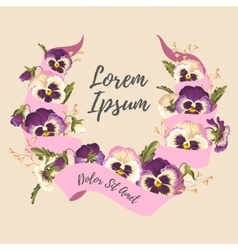 Ribbon and pansies vector image