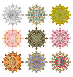 set mandala different color 43 vector image vector image