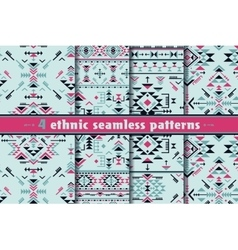 Set of four colorful ethnic seamless patterns vector