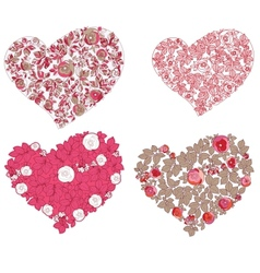 Set of hearts Red valentine hearts in floral style vector image