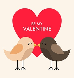 St Valentines day greeting card in flat style Two vector image vector image