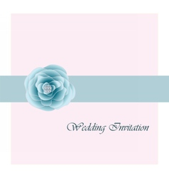 Wedding card invitation with pink rose ribbon vector image