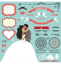 Wedding invitation decor set with kissing couple vector