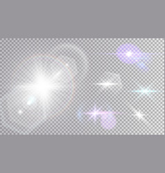 White and colored cosmic lights set vector