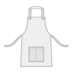 White apron with outsets and pocket vector