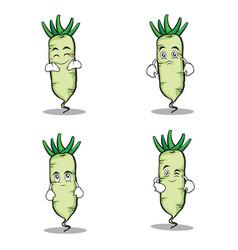 White radish character cartoon set vector