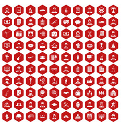 100 career icons hexagon red vector