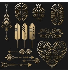 Tribal aztec gold stencil elements vector