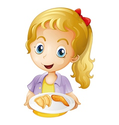 A girl holding a plate with foods vector