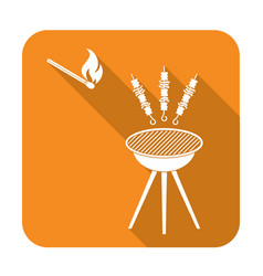 Grilled kebab icon vector