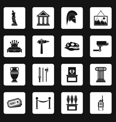 Museum icons set squares vector