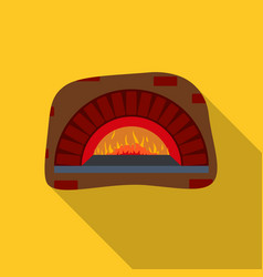 Wood-fired oven icon in flat style isolated on vector