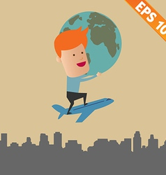 Business man holding world - - eps10 vector