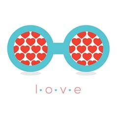 Hearts Reflection Eyeglasses vector image