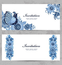 Invitation cards with gzhel ornament for your vector