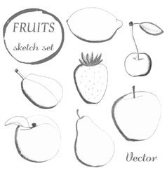Set of fruits in sketch stylefreehand drawing vector