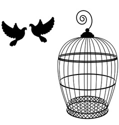 Birdcage and two pigeon vector