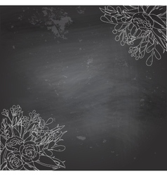 Black chalkboard with flowers vector