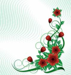 corner red rose vector image