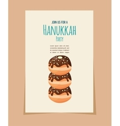 Hanukkah doughnut jewish holiday food vector