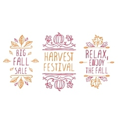 Hand-sketched typographic elements for autumn vector