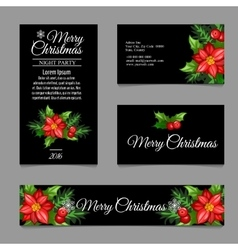 Four business card with red flowers vector image