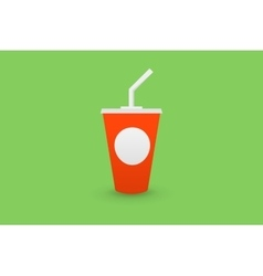Red plastic cup of cola with a straw vector