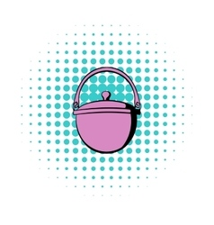 Traditional cooking cauldron icon comics style vector