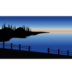 Silhouette of sea in the bridge vector