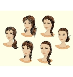 Set of beautiful female faces vector