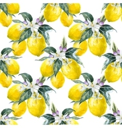 Watercolor lemon pattern vector
