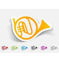 Realistic design element french horn vector