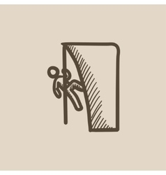 Rock climber sketch icon vector