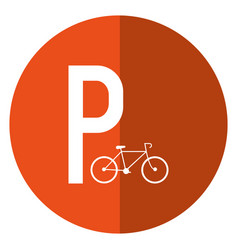 Bycicle road sign parking shadow vector