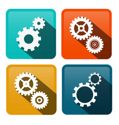 Cogs gears flat design icons on rounded squares vector