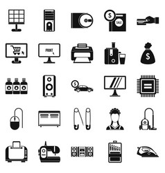 Computer things icons set simple style vector