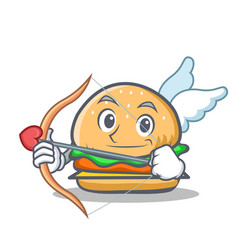 Cupid burger character fast food vector